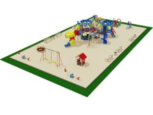 Детская площадка с большим игровым комплексом