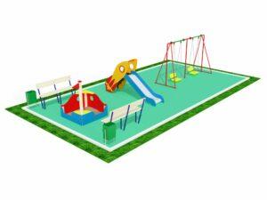 Детская площадка с качелями, горкой и песочницей 1