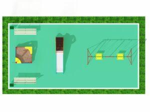 Детская площадка с качелями, горкой и песочницей 2