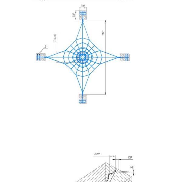 Канатная площадка красный канат КП1 (2)