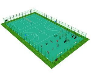 Ограждённая спортивная площадка с тремя секторами: под игру в теннис, баскетбол, сектор с тренажёрами и воркаутом.