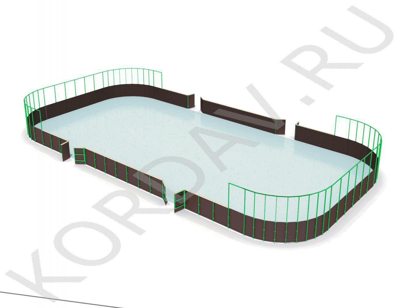 Хоккейная коробка из фанеры с высокими сетчатыми бортами СИ 6.284