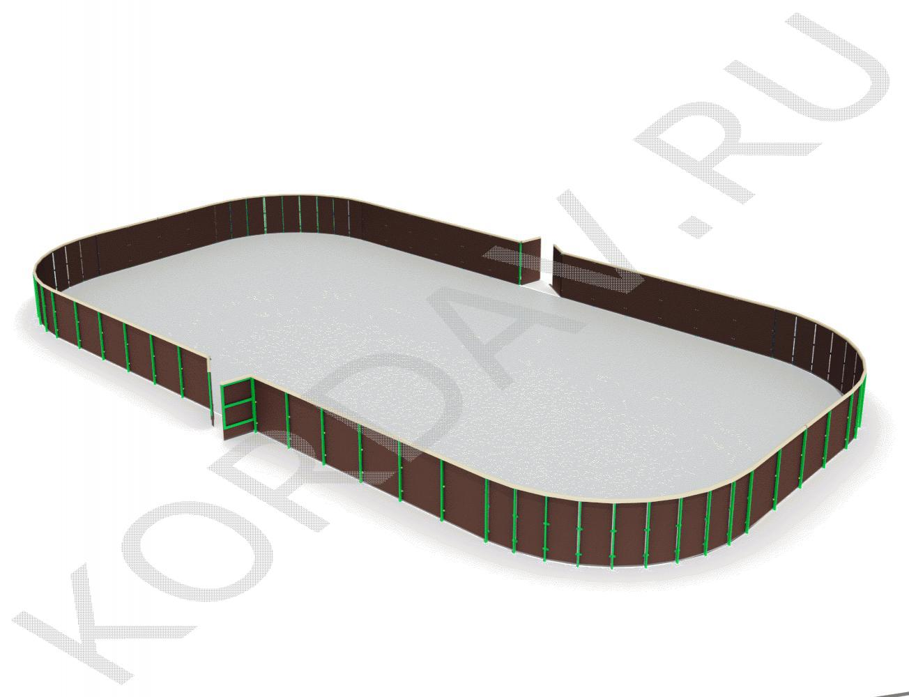 Каток - хоккейная коробка из фанеры с обычными бортами СИ 6.296