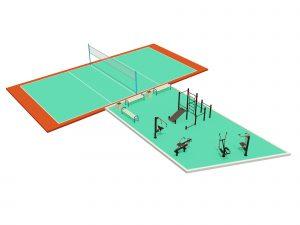 Теннисная площадка и спортивная площадка