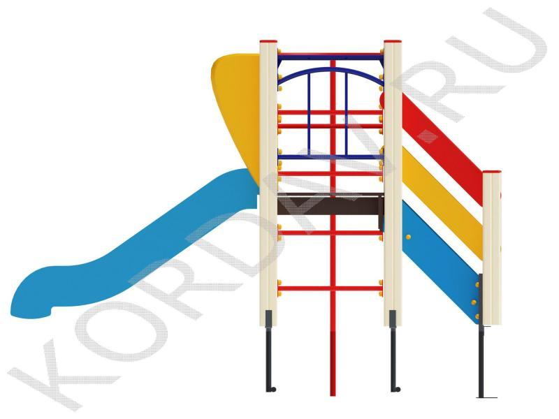Детский игровой комплекс с горкой рукоходом и турником ПДИ 1.02 (0)