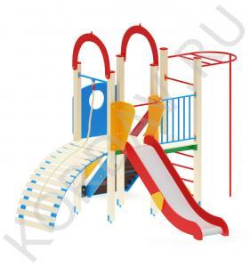 Детский игровой комплекс с горкой турником и трапом ПДИ 2.07 (0)