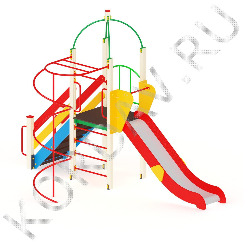 Игровой комплекс с горкой шестом и спиралью ПДИ 2.37